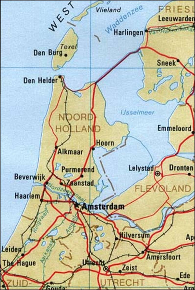 Kaart Noord Holland Kaart Noord Holland En Haarlem Vakantie