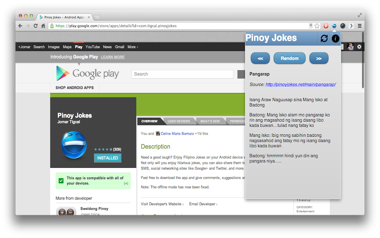 Jomar Tigcal's Blog: Pinoy Jokes Chrome Extension