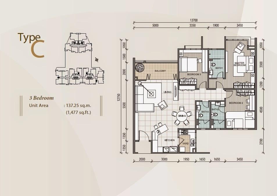 1 Desa Residence Floor Plan Meridien Residence Apartment