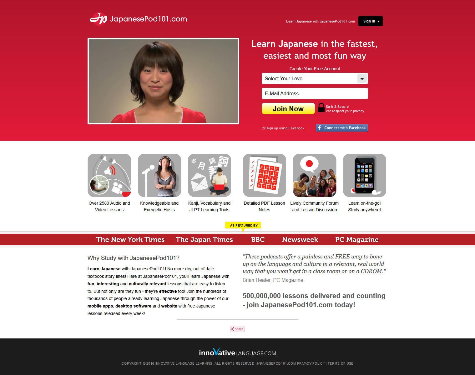 Strona japanesepod101.com ucząca języka angielskiego