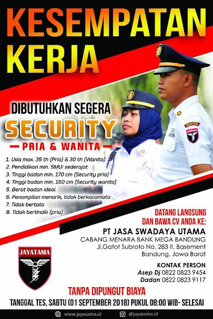 Lowongan Kerja Security PT Jasa Swadaya Utama Bandung