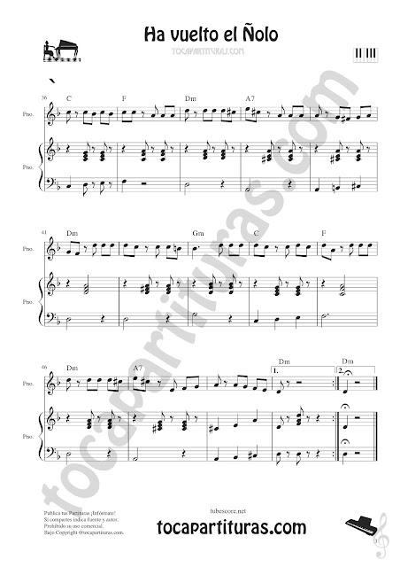 Hoja 3  Ha vuelto el Ñolo Partitura fácil de Piano con Acordes y acompañamiento para tocar en Dúo o Trío con las Partituras del post