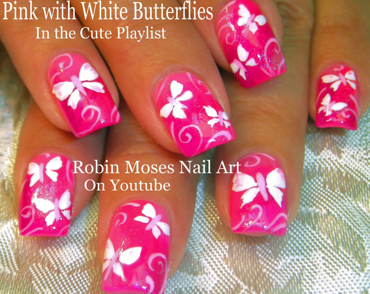 Nail Art by Robin Moses: Neon Pink with White butterfly Nail Art ...
