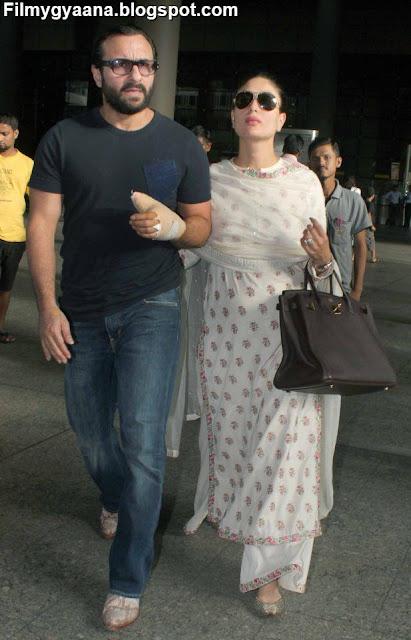 kareena with hubby saif at airport