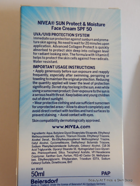 Nivea Sun Protect and Moisture Sunscreen SPF 50