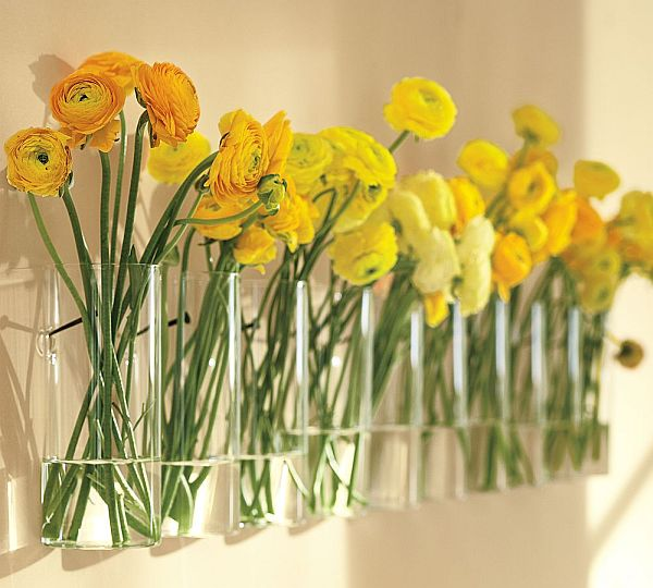Using old bottles and vase for wall decoration