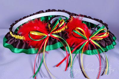 Rasta Wedding Garter Set in Satin with Swarovski Crystals & Marabou Feathers by Sugarplum Garters