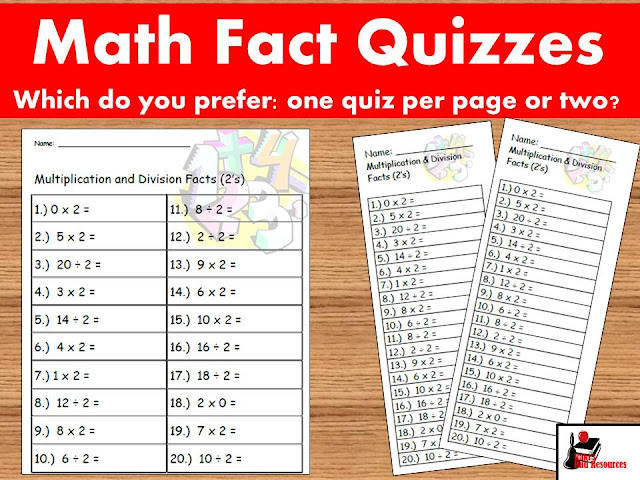 Math fact quizzes - you have the choice one quiz per sheet or two quizzes per sheet - with a level to meet everyone's needs - math fact all inclusive bundle from Raki's Rad Resources.