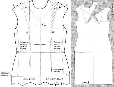 Моделирование платьев путем перевода вытачек. Часть 1