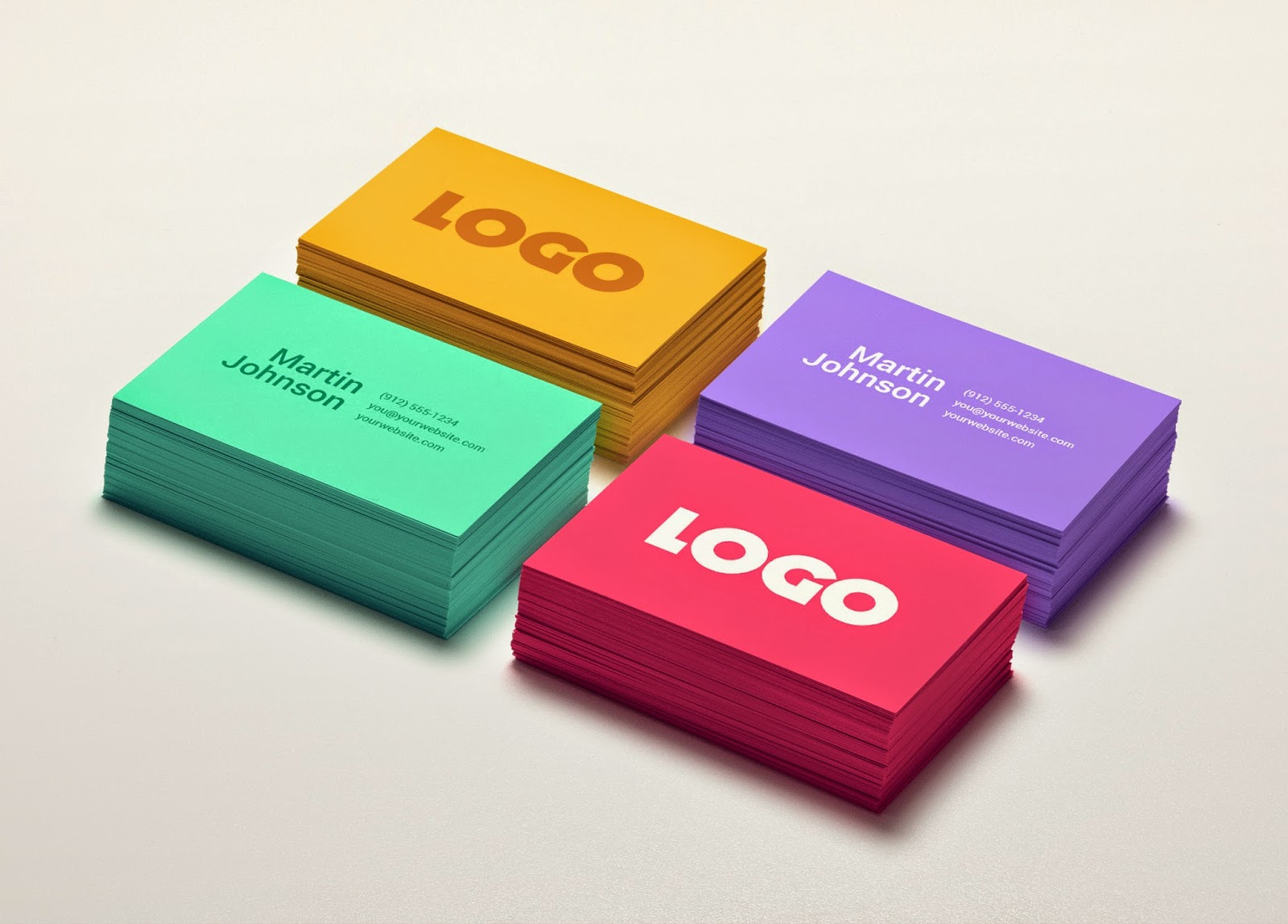 PSD Colorful Business Card MockUp Template