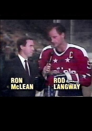 USA cable network aired the Capitals-Dynamo game; here, Ron McLean interviews captain Rod Langway