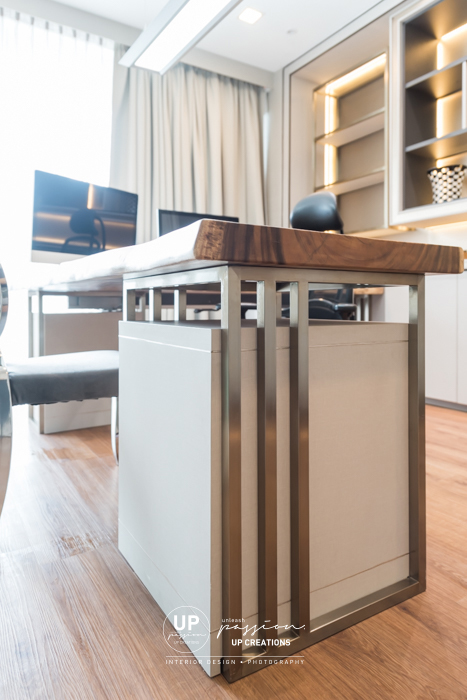u thant penthouse residence study room in elegant style with natural solid wood slab as work desk with custom made steel frame and custom made pedestal drawer