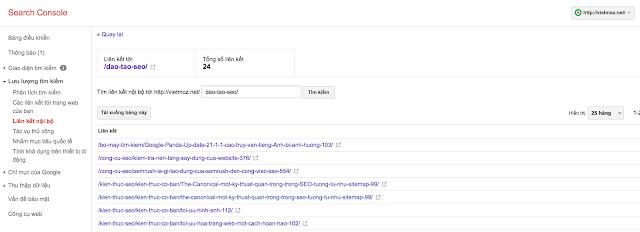 Báo cáo liên kết nội bộ trong Google Search Console