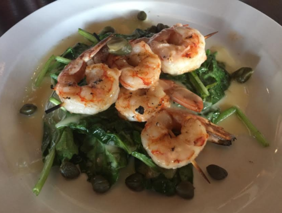 Grilled shrimp and sauteed spinach at 1913 Restaurant and Wine Bar