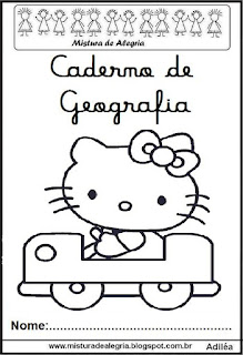 Capa caderno geografia Hello Kitty
