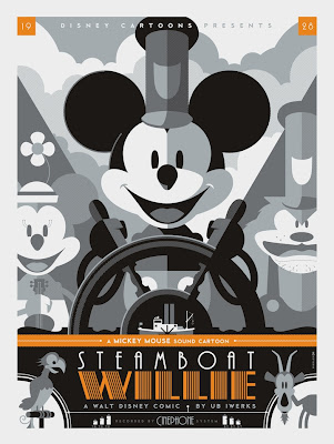 Mondo Tees - Steamboat Willie Disney Screen Print by Tom Whalen