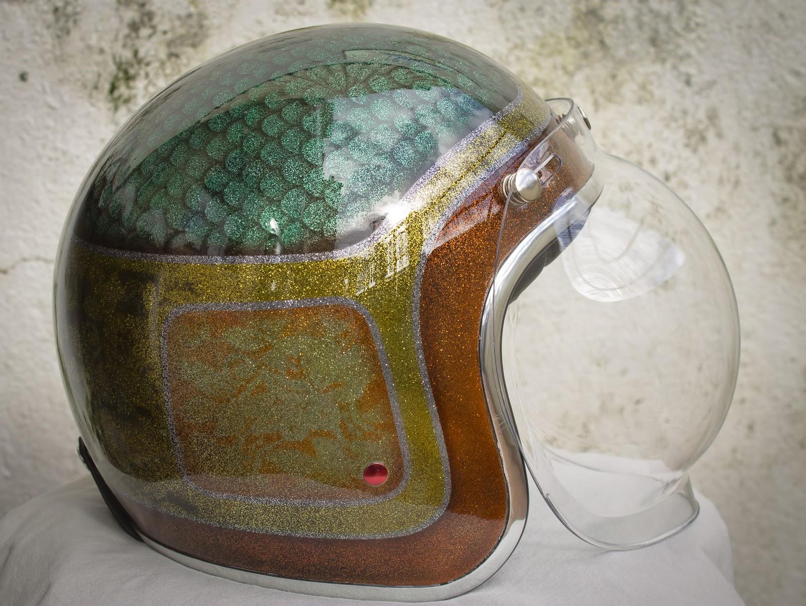 Helmets by Alberto Domínguez Munín :: via Tarmac Custom Motorcycles