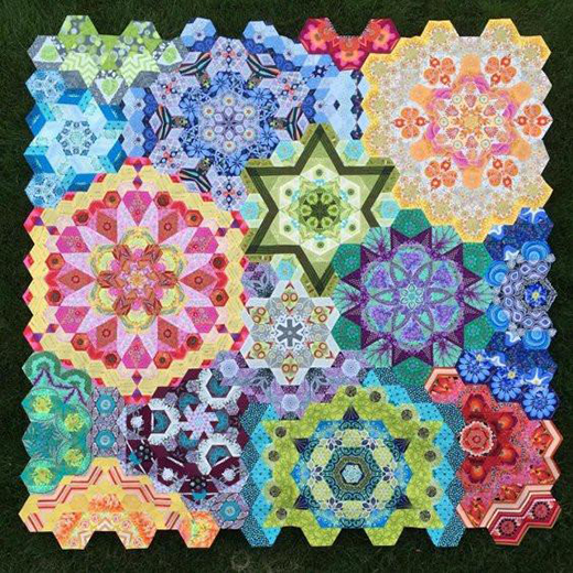 New Hexagon Millefiore Quilt Designed by Katja Marek of Katjas Quilt Shoppe