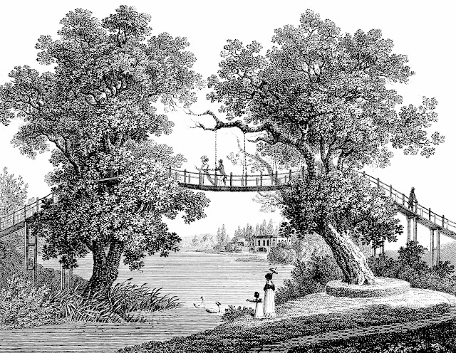 illustration of 1836 garden bridge ninnies