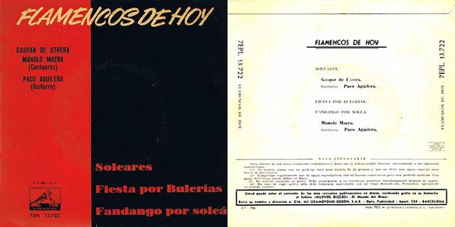 """GASPAR DE UTRERA, MANOLO MAERA, PACO AGULERA """"FLAMENCOS DE HOY"""" EP 1962 LA VOZ DE SU AMO"""