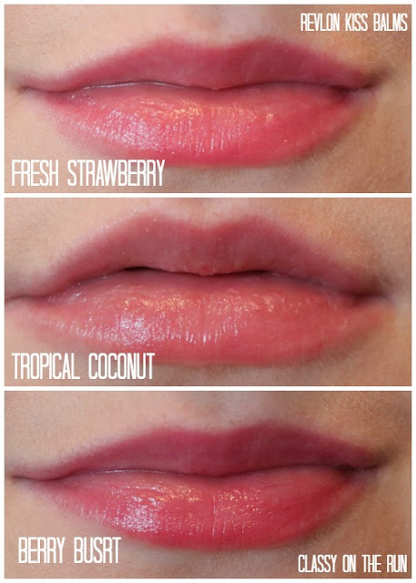 revlon kiss balms fresh strawberry tropical coconut berry blast swatch