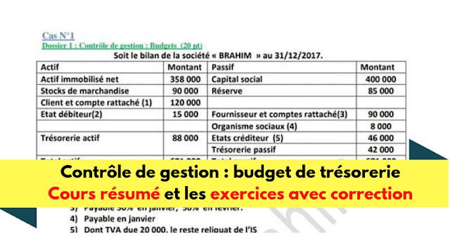 Budget de trésorerie - Cours et exercices corrigés