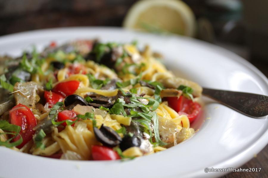 Türkische Sommerküche : Sommerküche linguine mit artischocken Ölsardinen und viel zitrone