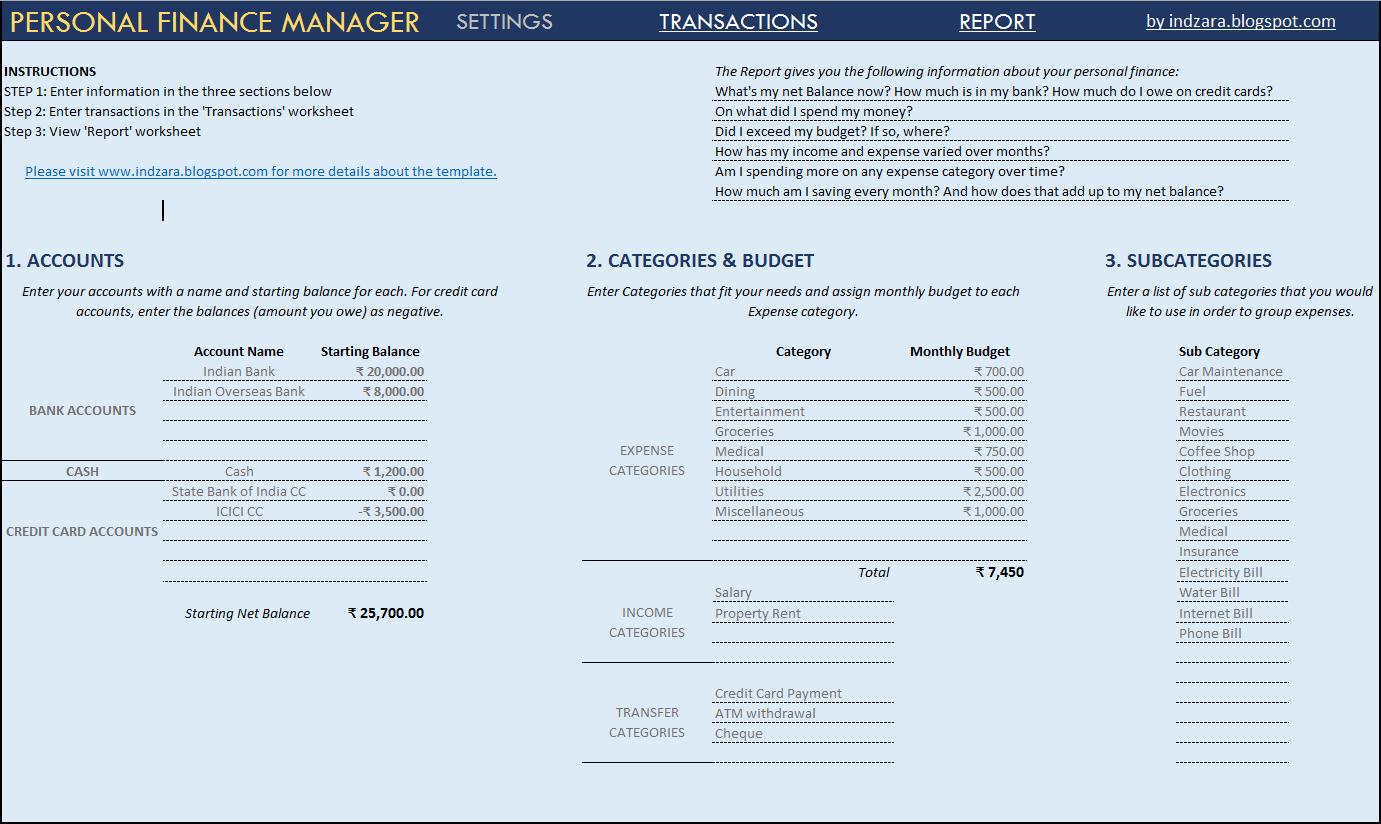 Personal Financial Statement Template Xls