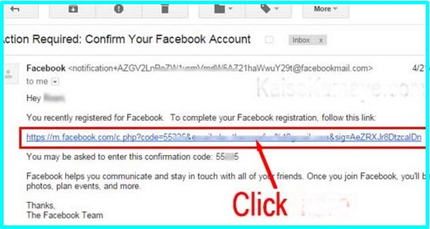 create Facebook account using Gmail