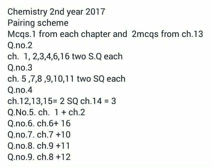 2nd year Chemistry Pairing scheme 2017 | Assessment scheme