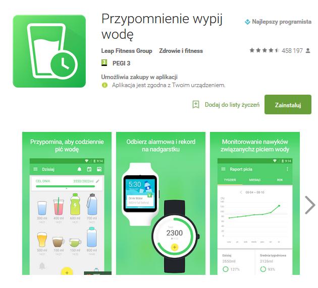 fajna aplikacja na telefon picie wody