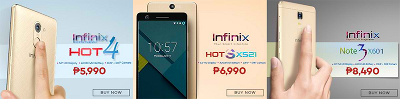 Infinix Hot 4, Infinix Hot S, and Infinix Note 3 Philippines