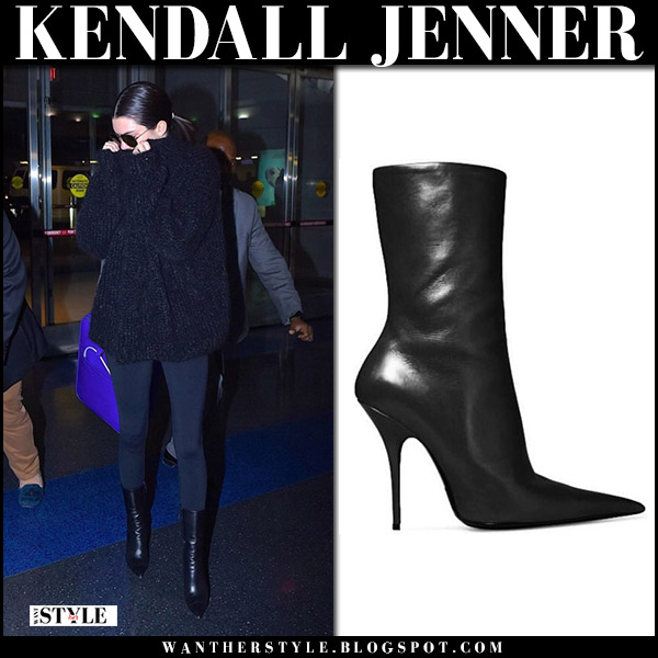 Kendall Jenner in black point toe ankle boots balenciaga knife street style november 9 2017