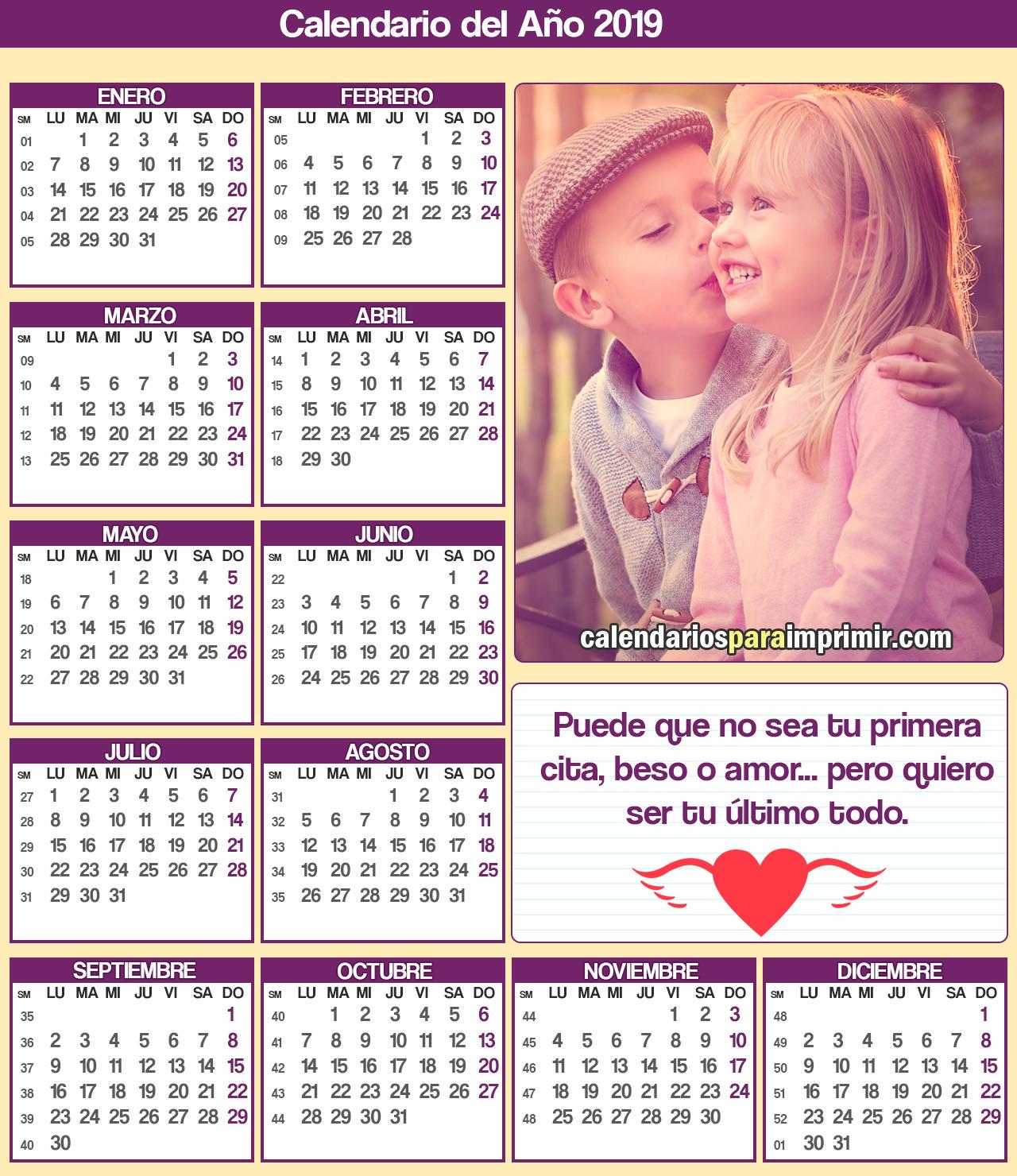 calendario para imprimir 2019 amor