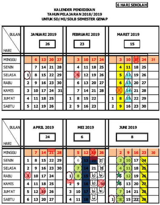 Kalender Pendidikan 2018/ 2019 Jawa Tengah Semester Genap untuk SD/ MI/ SDLB