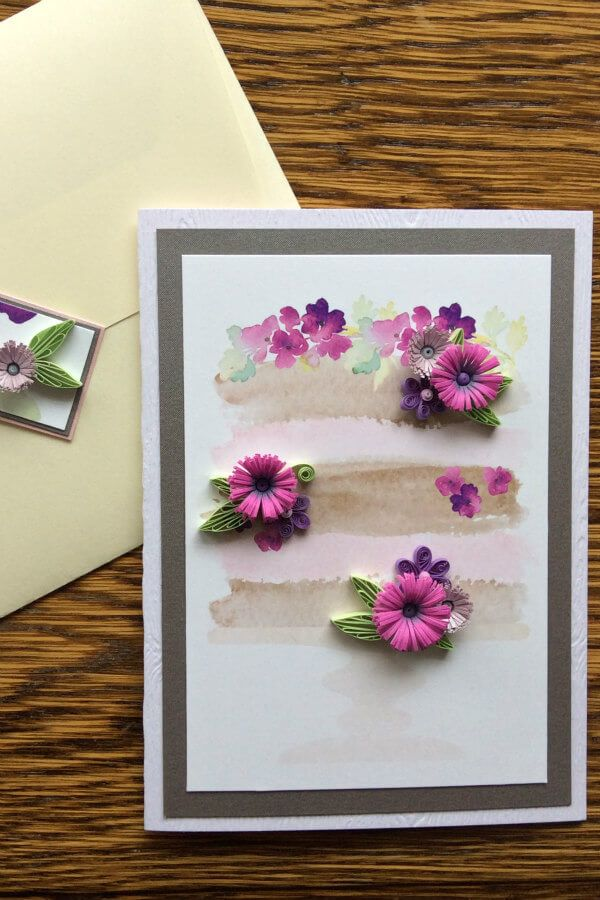 quilled floral card with matching envelope