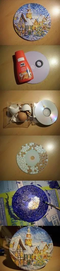 Reciclando Cd´s com Decoupagem e craquelê com casca da ovos