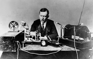 Guglielmo Marconi photographed during the first transatlantic  wireless transmission on 1901