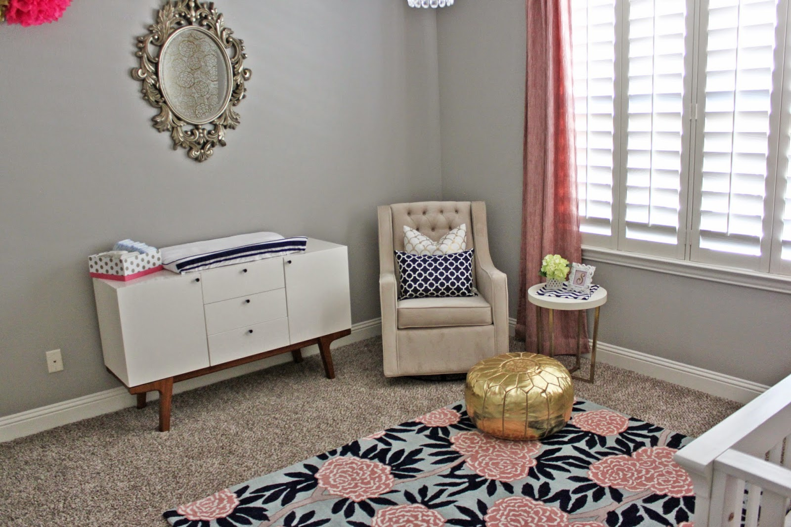 A Little Of This A Little Of That Pink Gold Navy Nursery