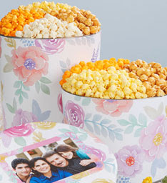 The Popcorn Factory Fancy Floral 3 1/2 Gallon 3-Flavor Tin Giveaway