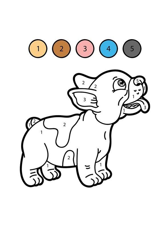 Hình tô màu con chó theo số