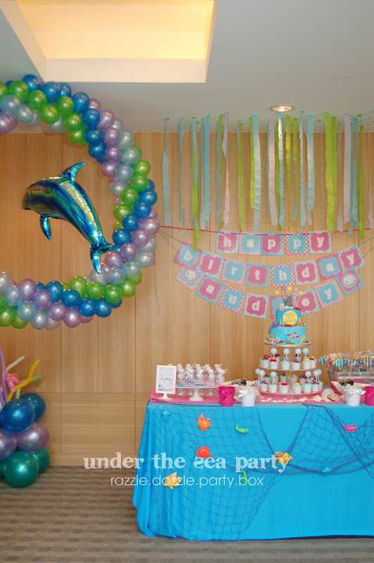 Razzle Dazzle Party Box Theme Birthday Party Under The Sea - blue and green birthday party