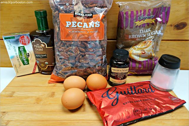 Ingredientes para el Relleno de la Chocolate Bourbon Pecan Pie