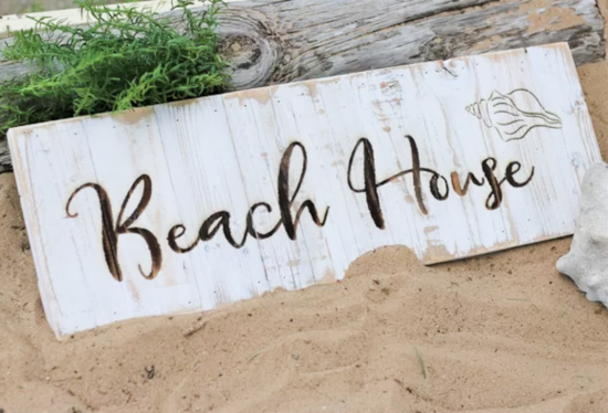 Beach House Wood Art Sign Wall Decor