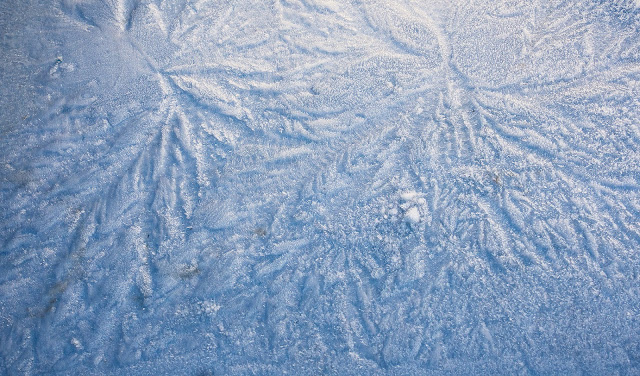Photo of patterns in the ice on one of Ravensdale's aft lockers