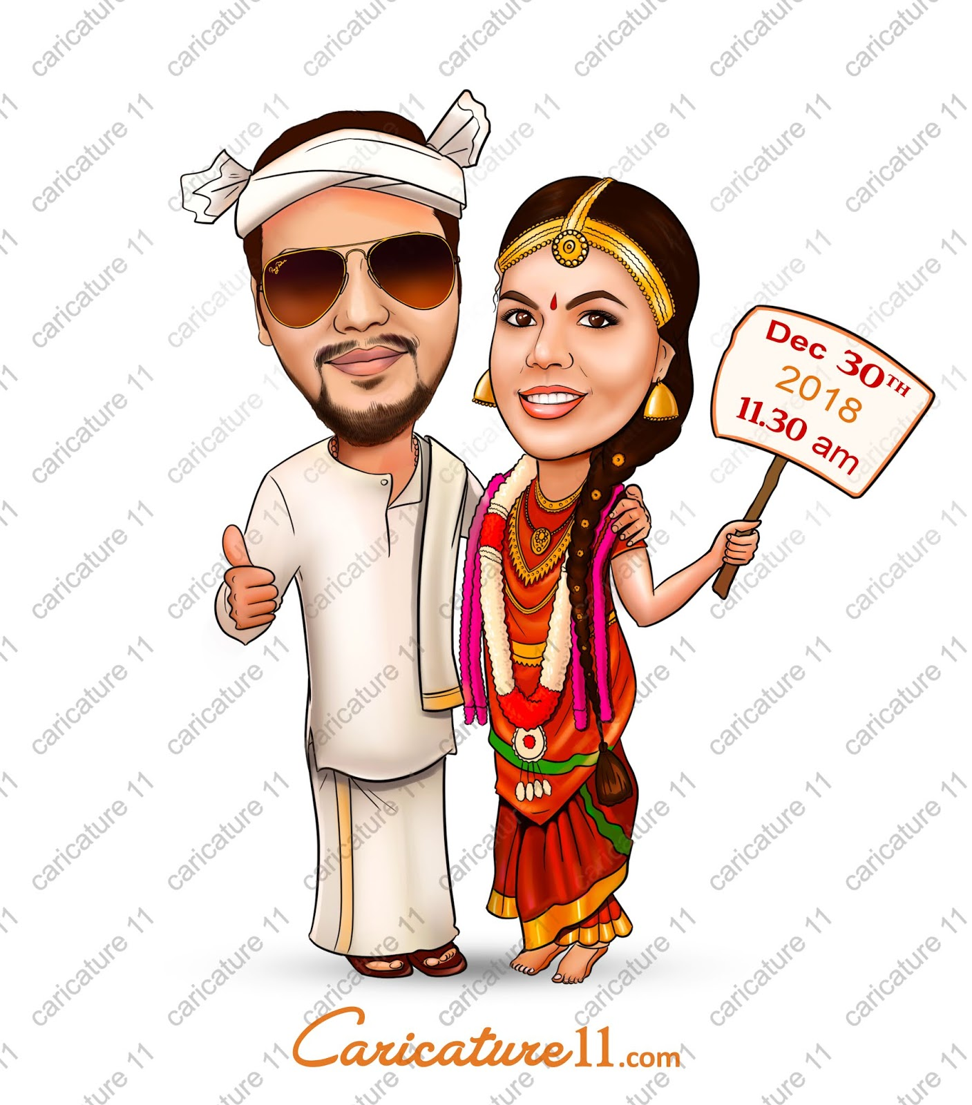 F South Indian Wedding Caricature Wedding Invitation Caricature11