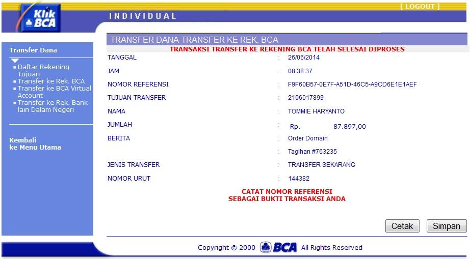 TRANSFER UANG LEWAT INTERNET BANKING BCA KLIKBCA.COM - On