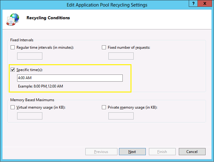 Set SharePoint Application Pool Recycle Time