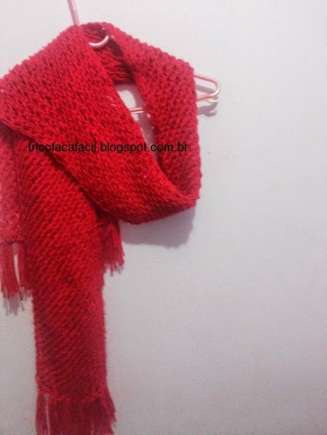 Cachecol Feminino vermelho Ponto Laçadas