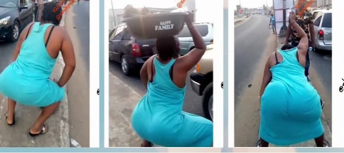 Video of a Nigerian Girl Selling Purewater Twerking On the Road